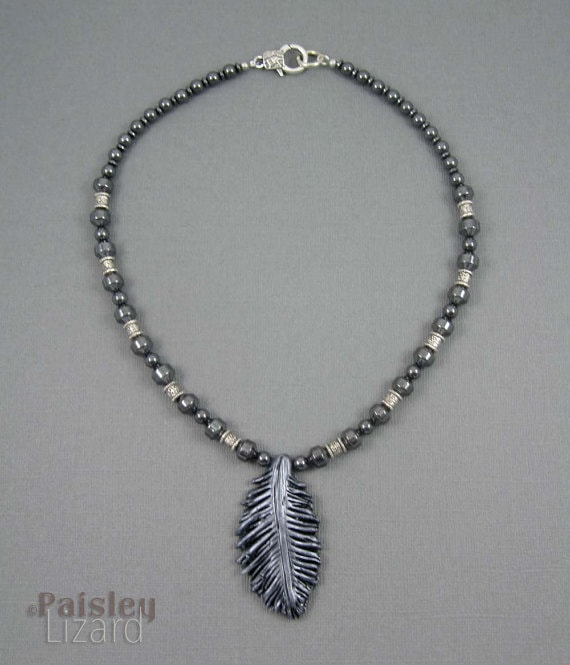 Paisley Lizard - Raven Feather Necklace